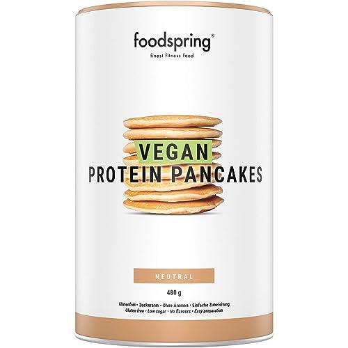 foodspring Pancake Proteici Vegani, 480 g, Colazione vegana e senza glutine ricca di proteine, con pochi zuccheri e incredibilmente soffici