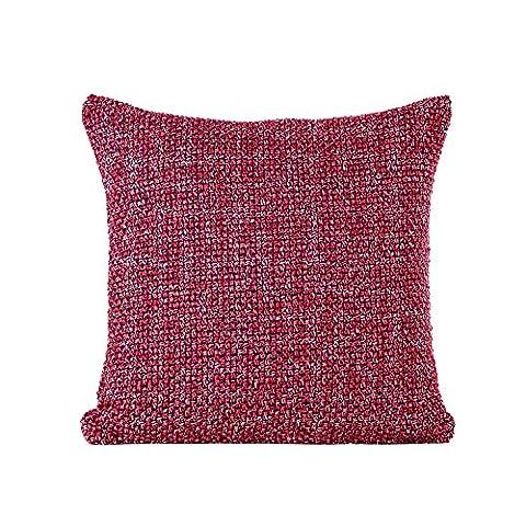 Nicetage Tressé Taie d'oreiller Doux Carrée Housse de Coussin Décoration de la Maison Décor Red
