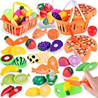 Pretend Play Food Toys for Kids, Keepwin Cutting Fruit Vegetable Kitchen Pretend Food Play Set Educational Toy Gifts For Children Kids (Multicolor | 24PCS)