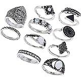 FENICAL Anillos de Dedo étnicos Conjunto exagerado combinación de Piedras Preciosas Anillos Traje de la joyería para Mujeres