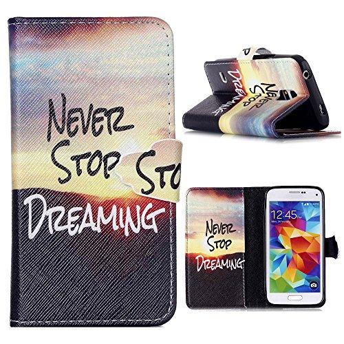Preisvergleich Produktbild Galaxy S5 Hülle,Samsung S5 NEO Tasche Linvei Handy Tasche Schutz Hülle im Bookstyle für Samsung Galaxy S5 / S5 NEO Wallet Case mit Standfunktion Schutzhülle mit Standfunktion Kartenfächer mit Weich TPU Innere Hülle Case (Never Stop Your Dream)