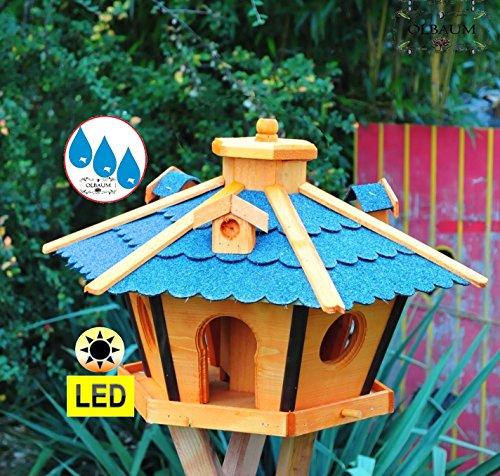Vogelhaus Massivholz,Massiv-WETTERFEST, mit Beleuchtung,Solar-LED mit Silo/Futtersilo für Winterfütterung,Gartendeko Vogelhäuschen, mit Silo / Futtersilo für Winterfütterung -Holz Nistkästen & Vogelhäuser- Futterhaus ohne Ständer blaue Dachschindeln BRL45blOS Bitumen