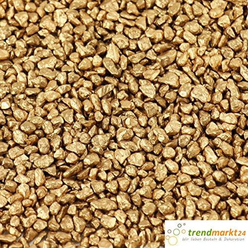 trendmarkt24 Dekokies Gold 750g Zierkies Dekogranulat ca. Ø 2-3 mm Streudeko Granulat mittelgrober Körnung Steinchen zum Befüllen von Glasgefäßen Vasen, Windlichter Deko-Kies 99101114