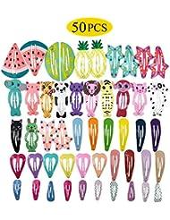 Barettes Cheveux Fille - 50pcs Pince à Cheveux Barettes pour Cheveux Accessoires Cheveux Enfant Bébé Fille Femmes avec Motifs