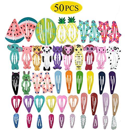 50 Stk Haarspangen Mädchen - Kinder Haarspangen Haarklammern Damen Haarclips mit Mustern Spangen Haarspange für Kinder Mädchen Damen aus Metall
