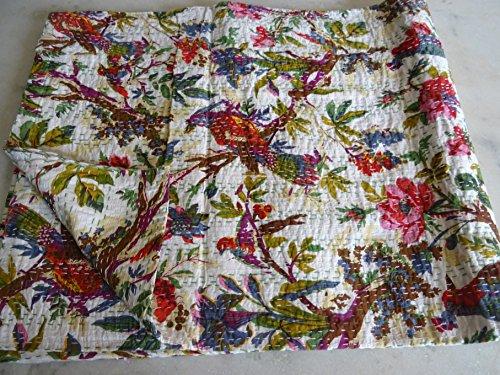 Tribal asiatischen Textilien Hand Made Bird Print King Size Kantha Quilt, Kantha Decke, Bett, King Kantha Tagesdecke, Bohemian Betten Kantha Größe 228,6x 274,3cm 036 (Quilts Für King-size-bett)