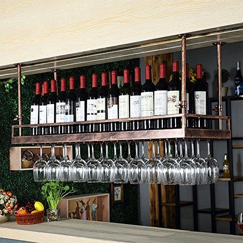Fer Forgé Double Bronze Noir Suspension en verre peut placer le bras télescopique facile à installer 80cm: 24 bouteilles de vin, 21 tasses; 100cm: 30 bouteilles de vin, 27 tasses; 120cm: 36 bouteilles