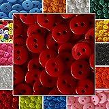 120 kleine bunte Knöpfe - 9mm - In vielen Farben erhältlich - Kinderknöpfe - Puppenknöpfe - Scrapbooking (Rot)