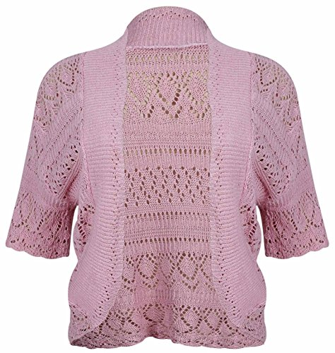 Womens-New-Crochet-Front-Open-Ladies-Short-Sleeve-Knitted-Bolero-Cropped-Cardigan-Shrug-Top-Plus-Size
