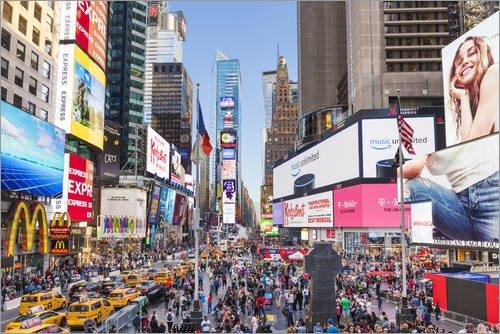Poster 91 x 61 cm: Reges Treiben auf Times Square und Broadway in New York von Neale Clarke/Robert Harding - hochwertiger Kunstdruck, neues Kunstposter