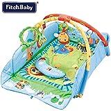 Palestrina Tappeto Gioco per Neonato Fitch Baby In morbido Tessuto Azzurro Estendibile con Protezioni Giocattoli Peluche Pendenti e Specchio (Azzurro)