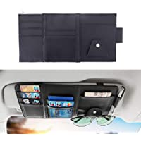 Silver VORCOOL Portable Multi-functional Car Auto Vehicle Sun Visor Mount Eyeglasses Sunglasses Card Holder Clip