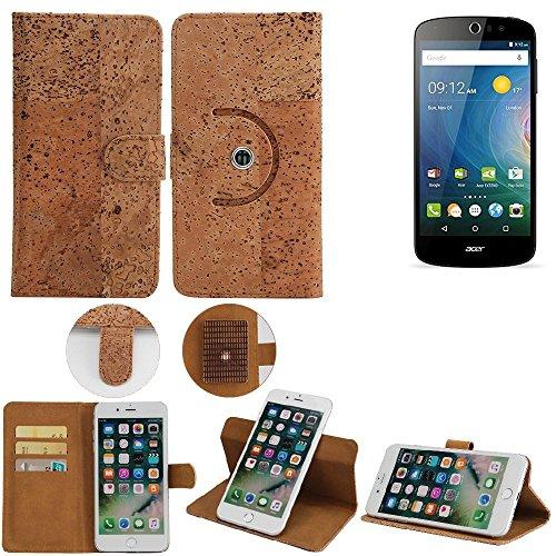 K-S-Trade Schutz Hülle für ACER Liquid Z530 Handyhülle Kork Handy Tasche Korkhülle Schutzhülle Handytasche Wallet Case Walletcase Flip Cover Smartphone