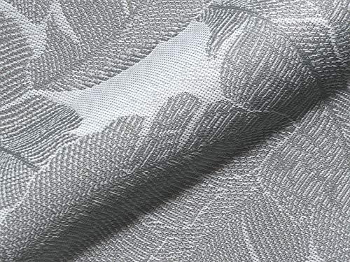 Raumausstatter.de Möbelstoff Outdoor Korsika 751 Blätter grau als robuster Bezugsstoff, Polsterstoff zum Nähen und Beziehen für Außen und Innen mit Fleckschutz -