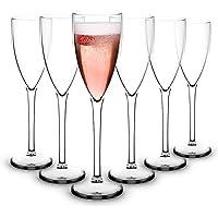 RB Flûtes à Champagne Plastique Supérieure Incassables Réutilisables 15cl, Lot de 6