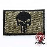 Punisher Patch Tactical Army Morale Emblem Totenkopf Digital Camo mit Klettverschluss Airsoft (Grün/Schwarz)