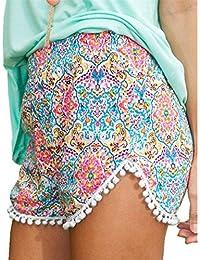Aeneontrue Damen Shorts Blumen Bedruckte Quasten High Waist Hot Pants Sexy  Sommer Strand Kurzschluss Kurz Hosen Sporthosen Yoga… 3ff6239df2