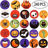 Outus Halloween Stickers Round Self Adhesive Stickers Treat or Trick Party Decorations with Pumpkin Ghost Black Cat Bat Design