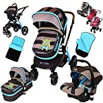 i-Safe System - i DiD iT Trio Travel System Pram & Luxury Stroller 3 in 1 Complete with Car Seat + Footmuff + Carseat Footmuff + RainCovers