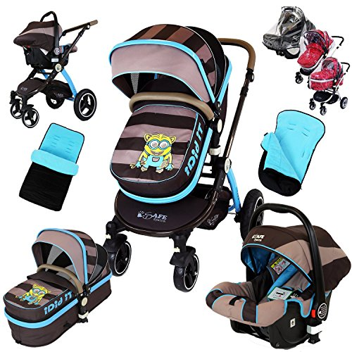 i-Safe System – i DiD iT Trio Travel System Pram & Luxury Stroller 3 in 1 Complete With Car Seat + Footmuff + Carseat Footmuff + RainCovers 61Bk XZU ZL