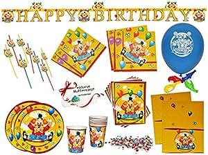 Service de table 60 pièces-clown de cirque/assiettes et serviettes gobelet nappe sachets ballon paille guirlande-confettis anniversaire tasse de café/multicolore pour anniversaire d'enfant-zirkusclown de cirque