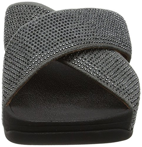 Fitflop Crystall Ii Slide, Tongs Femme Argent (étain)