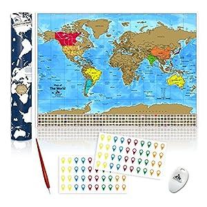 Mapamundi Para Rascar. Mapa del Mundo Rascable con Estados y Ciudades de los Estados Unidos. Rasca y Haz un Seguimiento de los Países Visitados. 84,1 x 59,4 cm