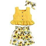 ANUFER 3 Piezas Niña Conjuntos de Ropa Brillante Amarillo Girasol Bebé Trajes Tops de Chaleco + Pantalones Cortos + Venda