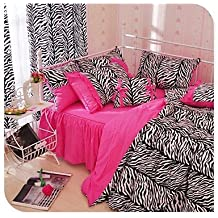 kiuytghnb doble cebra leopardo Funda de edredón conjunto edredón de cama de cebra rosa y negro ropa de cama matrimonio Black/Pink