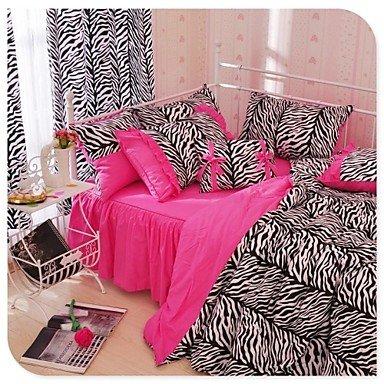 QUILT kiuytghnb Doble Cebra Leopardo Funda de edredón Conjunto edredón de Cama de Cebra Rosa y Negro Ropa de Cama, algodón, Negro/Rosa, Matrimonio