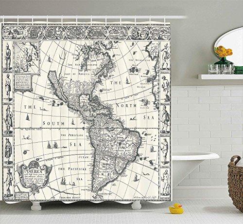 Fernweh Dekor Duschvorhang Set, Bild der antiken Karte Amerika in 1600S Welt im Mittelalter Antike Retro Home Decor, Bad-Accessoires, Creme grau