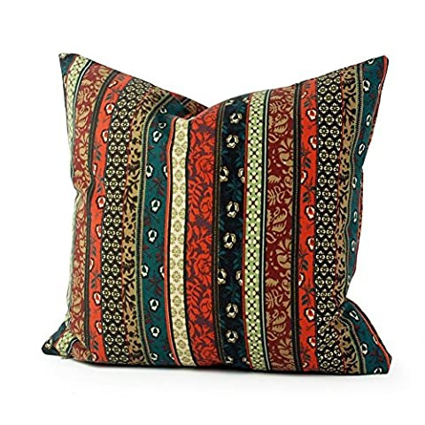 Lavievert Ethnic Style Housewares Pillow Cover Canvas Fabric Pillow Throw Pillow Pillow Cover Cushion Cover 20x20 Inches