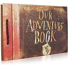 Woodmin Mi libro de la aventura del álbum del libro de recuerdos de DIY, Libro de visitas del boda, Álbum de foto del aniversario (marrón, 80 páginas)