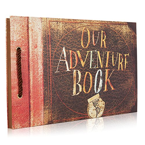 Woodmin mein Abenteuer-Buch DIY Album-Album, Hochzeits-Gästebuch, Jahrestags-Foto-Album (braun, 80 Seiten) (Ausdrücke Mädchen Geldbörse)