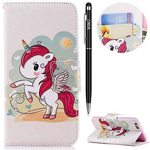 WIWJ iPhone 6 Plus Hülle,iPhone 6S Plus Leather Handyhülle, Wallet Case[Messer Schnalle Gemalt...