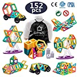 Gifts2U Magnetic Building Blocks, 152pcs Construction Kit for Kids with Wheel Letters Numbers Guide Booklet Portable Backpack, Magnet Stacking Set, Creative Educational STEM Toys