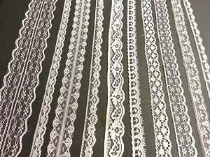 Assortiment de 20m de rubans de dentelle ancienne Blanc