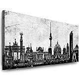 Julia-Art Leinwandbilder - 120 mal 50 cm Bild Berlin City, Skyline Wandbilder sind fertig gerahmt - verschiedene Motive - Kunstdrucke XXL Panorama Be-01-13