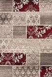 Lalee 347221943 Moderner Designer Teppich Muster Patchwork Neu Größe 160 x 230 cm, silber/rot