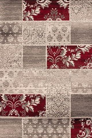Lalee 347221943 Moderner Designer Teppich Muster Patchwork Neu Größe 160 x 230 cm , silber / rot