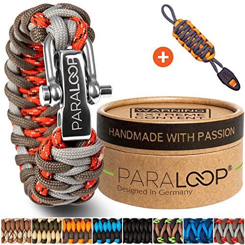PARALOOP® Deluxe ▪ Exklusives Paracord Armband für Herren/Männer & Schlüsselanhänger mit Signalpfeife ▪ Rot Grau ▪ inkl. Geschenkbox ▪ Bracelet