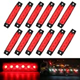 AMBOTHER 12pcs Feux Côtés Lampe Latéral Clignotant 6 LEDs Voiture Ampoule Feux de Position Indicateur Tourner Signal pour Véhicules Automobile Camion Caravane DC 12V/24V Rouge