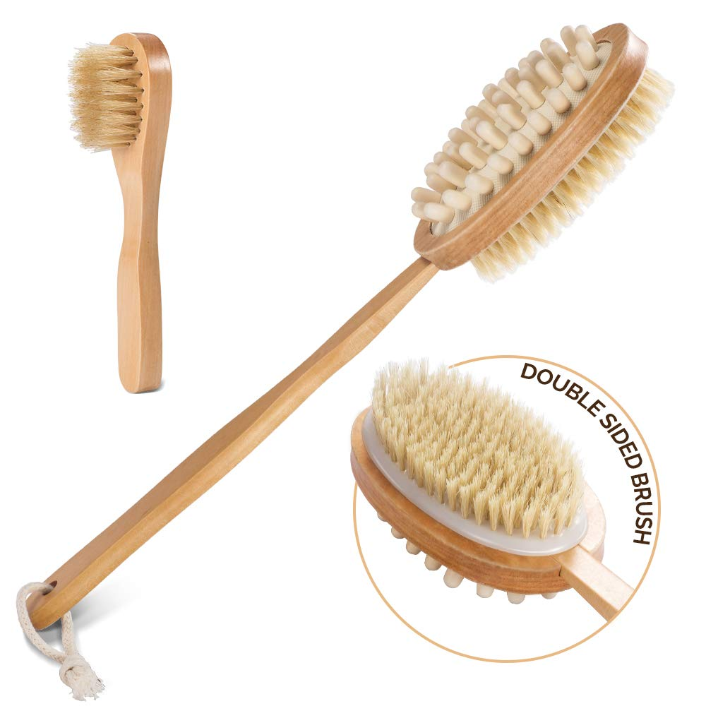 Dry Brushing Body Brush with Face Brush 17.5 In Long Handle Skin Brush with Natural Boar Bristle Set-Stimulating Lymphatic System Flow Increase Blood Circulation Masthome