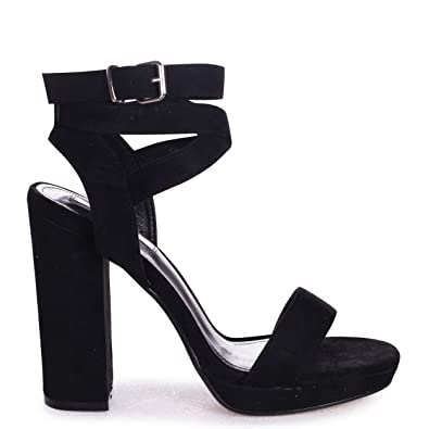 Linzi Passion Black Suede Block Heel With Wrap Around Ankle Strap B0785F7NTY