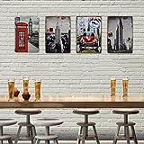 decalmile Placa Chapa Cartel Póster de Pared Metal Arte Decoración para Bar de Cerveza Cafetería Dormitorio (Set de 4 Piezas)
