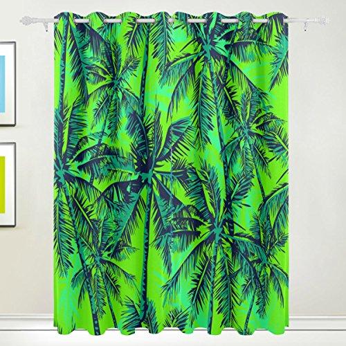 FFY Go Fenster Vorhang, 2Panels Palm Tree Green Print Thermo-Isoliert Dicke Polyester-Blackout-Home Decor mit Öse für Schlafzimmer Wohnzimmer Badezimmer Küche 213,4x 139,7cm -
