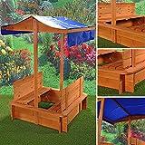 Melko® Sandkasten Sandkiste Sandbox mit 2 Sitzbänken und Dach in blau aus Fichtenholz für Kinder, Natur, 120 x 120 x 120 cm