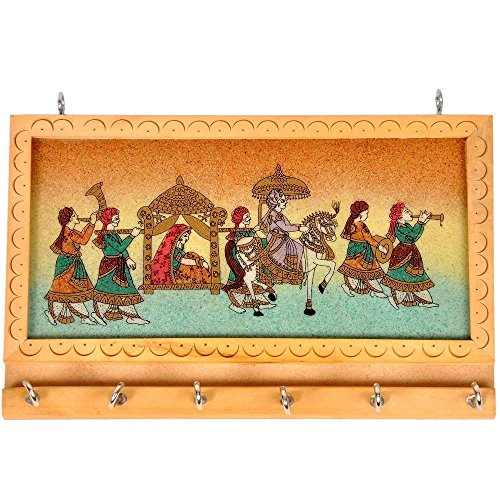 The Hue Cottage Schlüsselhalter Edelstein Stein mehrfarbige Ehe Design Prunkstück indisch dekorative Holz Wandbehang Schleife Geschenk Artikel Dekor (Schleife 036)