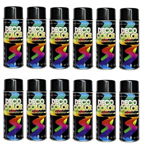 12er Sparpack (1 Karton) Lackspray glänzend 400ml schwarz glanz RAL 9005 -