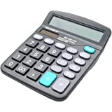 Desk Calculator, 12-Digit Solar Battery Office Calculator with Large LCD Display Big Sensitive Button, Dual Power Desktop Cal